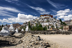 Thiksey Monastery in Clouds and Blue Sky, India Stock Image