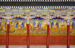 Thiksey monastery colonnade. Monastery colonnade in the north of india stock images