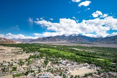 Aerial view from Thiksey monastery in Ladakh, India. Stock Photography