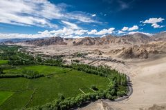 Aerial view from Thiksey monastery in Ladakh, India. Stock Photos