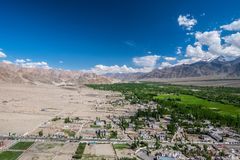 Aerial view from Thiksey monastery in Ladakh, India. Stock Images