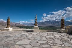 Aerial view from Thiksey monastery in Ladakh, India. Stock Photo