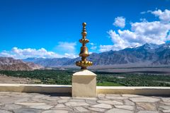 view from Thiksey monastery in Ladakh, India. Stock Photos