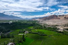 Aerial view from Thiksey monastery in Ladakh, India. Royalty Free Stock Photos