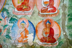 Thiksey village in Ladakh, India - AUGUST 20: Buddha Incarnation elements of wall painting in Thiksey Monastery on August 20, 201 Stock Photography
