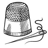 Thimble and needle sketch. Doodle style thimble and needle illustration in vector format suitable for web, print, or advertising use Stock Image