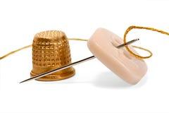 Thimble needle thread Royalty Free Stock Photo
