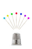 Thimble with pins. Before white background Royalty Free Stock Images