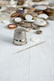 Thimble and sewing items Stock Photography