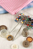 Thimble and sewing items Stock Photo