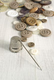 Thimble and sewing items Royalty Free Stock Image