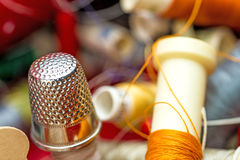 Thimble with thread Stock Image