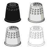 A thimble to protect your fingers when sewing.Sewing or tailoring tools kit single icon in cartoon style vector symbol. Stock web illustration Stock Photography