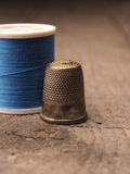Thimble and yarn royalty free stock image