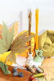 Thimbles and threads. Box wooden, thimbles and threads against autumn leaves and Stock Image