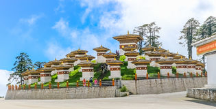 Thimphu, Bhutan - September 10, 2016: Druk Wangyal Khangzang Stupa with 108 chortens, Dochula Pass, Bhutan. Royalty Free Stock Photos