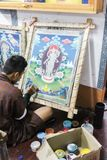 Thimphu, Bhutan - September 11, 2016: Painting students at National Institute for Zorig Chusum, Thimphu. The institute is where students learn the thirteen royalty free stock photo
