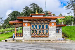Thimphu, Bhutan - September 10, 2016: Traditional Bhutanese building near Druk Wangyal Lhakhang Royalty Free Stock Photo