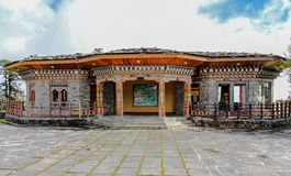 Thimphu, Bhutan - September 10, 2016: Traditional Bhutanese temple architecture in Bhutan, South Asia. royalty free stock image