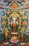 Thimphu, Bhutan - 11. September 2016: Wandmalerei, welche die tibetanische Göttin, Bhutan darstellt lizenzfreie stockfotografie