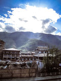 Thimphu - Bhutan. View from a hotel on the main street, Norzim Lam in the capital Thimphu which contains a number of shops and small hotels and restaurants Royalty Free Stock Image