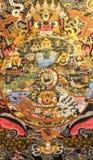 Thimphu, Butão - 11 de setembro de 2016: Pintura mural que representa a roda da vida, Butão imagem de stock royalty free