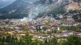 Thimphu capital city of Bhutan Valley country in the bird eye vi Royalty Free Stock Photography