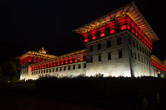 Thimphu dzong bij nacht Royalty-vrije Stock Fotografie