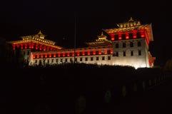 Thimphu dzong przy nocą Zdjęcie Royalty Free