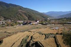 Thimphu squisita Dzong con le risaie nel Bhutan Fotografia Stock Libera da Diritti