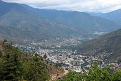 Thimphu-Tal in Bhutan Stockbilder