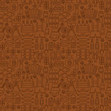 Thin Alcohol Beer Line Oktoberfest Seamless Brown Pattern Royalty Free Stock Images