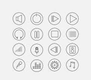 Thin audio icon set Royalty Free Stock Photos