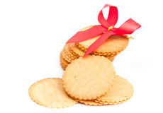 Thin biscuit  on a white background Royalty Free Stock Images