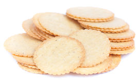 Thin biscuit  on a white background Royalty Free Stock Photo