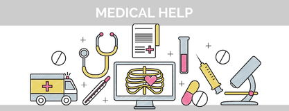 Thin black line scribble header banner illustration for the structure and sequence of medical help. Stock Images