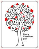 Abstract love tree with red hearts and curls. Thin black lines. Flat style. Card or invitation for St Valentine day. Vector illustration Royalty Free Stock Photos