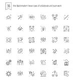 36 thin black modern linear icons of collaborate and teamwork fo Royalty Free Stock Image