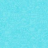 Thin Blue Insurance Line Seamless Pattern Royalty Free Stock Photos