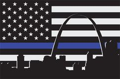Thin Blue Line with Arch Stock Photo