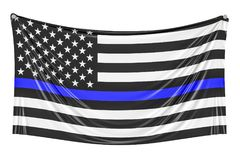 Thin Blue Line. Black Flag of USA with Police Blue Line hanging. On the wall, 3D Royalty Free Stock Photo