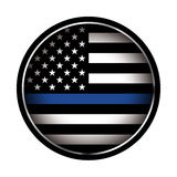Thin Blue Line Police Support Icon Illustration Stock Photos