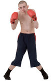 The thin boxer in gloves Royalty Free Stock Image