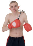 The thin boxer in gloves Stock Photography