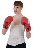 The thin boxer in gloves Stock Photos