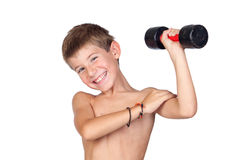 Thin boy showing his muscles Royalty Free Stock Photo