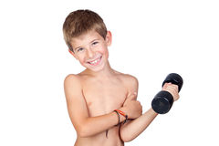 Thin boy showing his muscles royalty free stock images