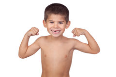 Thin boy showing his muscles Stock Photography