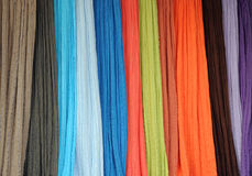 Thin Bright Fabrics. Closeup image of thin bright fabrics at the shop Royalty Free Stock Photos