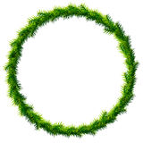 Thin christmas wreath without decoration. Round frame of pine branches isolated on white background. Qualitative vector illustration for christmas, new year's Royalty Free Stock Images